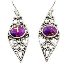 3.84cts purple copper turquoise 925 sterling silver dangle earrings r42391