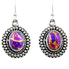 3.63cts purple copper turquoise 925 sterling silver dangle earrings r53996