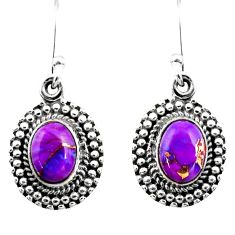 3.62cts purple copper turquoise 925 sterling silver dangle earrings r53997