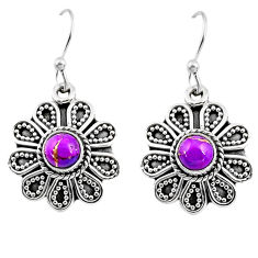 1.01cts purple copper turquoise 925 sterling silver dangle earrings r54017