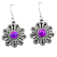 1.01cts purple copper turquoise 925 sterling silver dangle earrings r54018