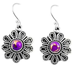 1.01cts purple copper turquoise 925 sterling silver dangle earrings r54019