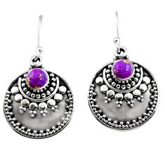 1.22cts purple copper turquoise 925 sterling silver dangle earrings r54035