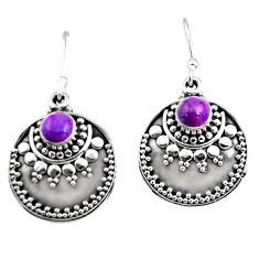 1.17cts purple copper turquoise 925 sterling silver dangle earrings r54036