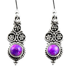 0.78cts purple copper turquoise 925 sterling silver dangle earrings r54057