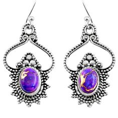 3.91cts purple copper turquoise 925 sterling silver dangle earrings r54070