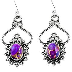 3.87cts purple copper turquoise 925 sterling silver dangle earrings r54071