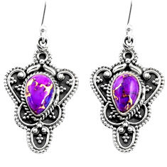 4.50cts purple copper turquoise 925 sterling silver dangle earrings r54085