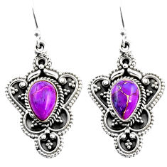 4.38cts purple copper turquoise 925 sterling silver dangle earrings r54087