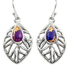 4.53cts purple copper turquoise 925 sterling silver dangle leaf earrings r39192