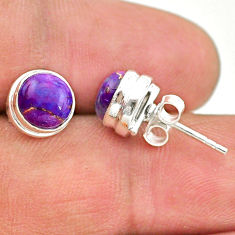 4.18cts purple copper turquoise 925 sterling silver stud earrings jewelry t19361