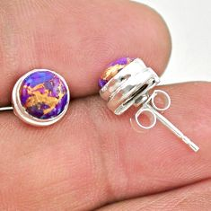 4.35cts purple copper turquoise 925 sterling silver stud earrings jewelry t19363