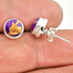 4.19cts purple copper turquoise 925 sterling silver stud earrings jewelry t19384