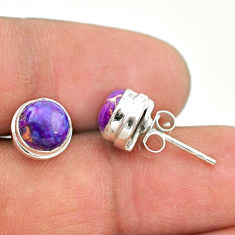 4.21cts purple copper turquoise 925 sterling silver stud earrings jewelry t19389