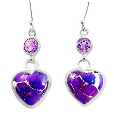 18.10cts purple copper turquoise amethyst 925 silver heart earrings d39508