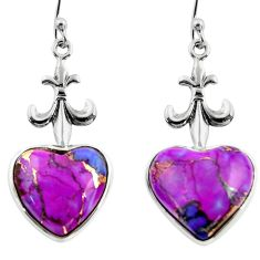 10.75cts purple copper turquoise heart 925 silver dangle earrings r46823