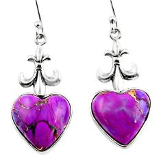 9.72cts purple copper turquoise heart 925 sterling silver dangle earrings r46822