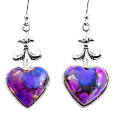 10.43cts purple copper turquoise heart 925 sterling silver earrings r46834