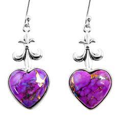 10.72cts purple copper turquoise heart sterling silver dangle earrings r46826