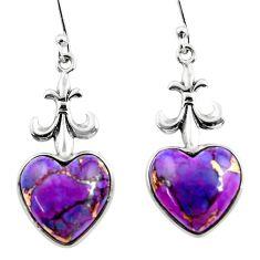 10.55cts purple copper turquoise heart sterling silver dangle earrings r46832