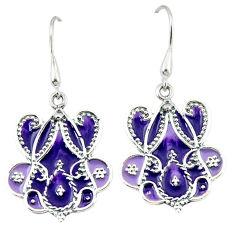 Purple enamel 925 sterling silver dangle earrings jewelry c18984