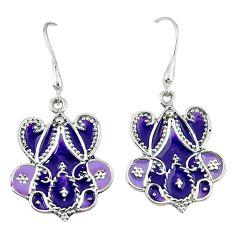 Purple enamel 925 sterling silver dangle earrings jewelry c18985