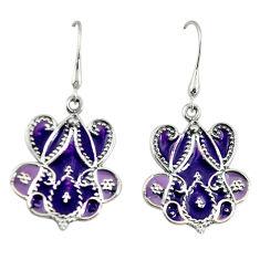 Purple enamel 925 sterling silver dangle earrings jewelry c23033