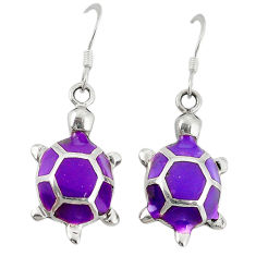 Purple enamel 925 sterling silver tortoise earrings jewelry c26104
