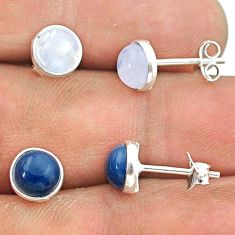 4.69cts rainbow moonstone owyhee opal 925 silver 2 pair studs earrings t50866