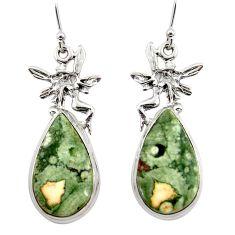 20.33cts rainforest rhyolite jasper 925 silver angel wings fairy earrings r45340