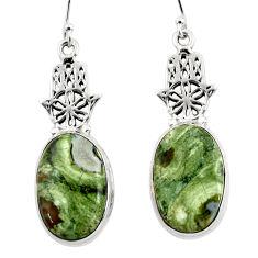 14.55cts rainforest rhyolite jasper 925 silver hand of god hamsa earrings r46061
