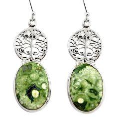 22.22cts rainforest rhyolite jasper 925 silver tree of life earrings r45331