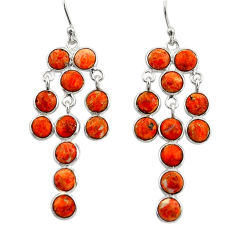 12.91cts red copper turquoise 925 sterling silver chandelier earrings r33415