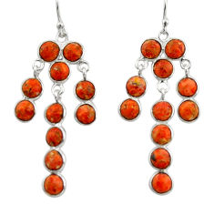13.13cts red copper turquoise 925 sterling silver chandelier earrings r33416