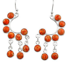 11.73cts red copper turquoise 925 sterling silver chandelier earrings r33493