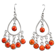 8.21cts red copper turquoise 925 sterling silver chandelier earrings r37349