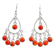 8.54cts red copper turquoise 925 sterling silver chandelier earrings r37351