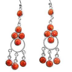 11.57cts red copper turquoise 925 sterling silver chandelier earrings r37391