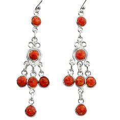 10.15cts red copper turquoise 925 sterling silver chandelier earrings r42292