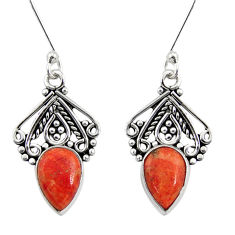 Clearance Sale- 4.80cts red copper turquoise 925 sterling silver dangle earrings jewelry d41194
