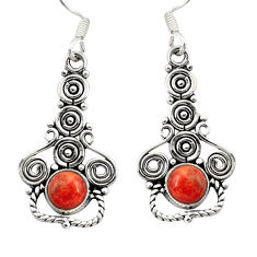 Clearance Sale- 1.94cts red copper turquoise 925 sterling silver dangle earrings jewelry d41196