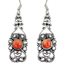 Clearance Sale- 2.01cts red copper turquoise 925 sterling silver dangle earrings jewelry d41197