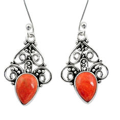 Clearance Sale- 4.67cts red copper turquoise 925 sterling silver dangle earrings jewelry d41199