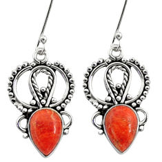 Clearance Sale- 4.84cts red copper turquoise 925 sterling silver dangle earrings jewelry d41200