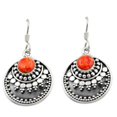 1.84cts red copper turquoise 925 sterling silver dangle earrings jewelry d46929