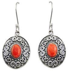3.13cts red copper turquoise 925 sterling silver dangle earrings jewelry d47128