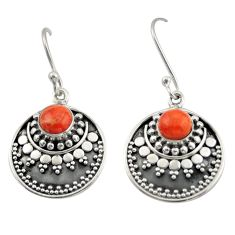 2.19cts red copper turquoise 925 sterling silver dangle earrings jewelry d47129