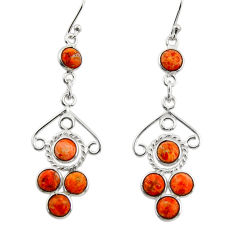 6.26cts red copper turquoise 925 sterling silver dangle earrings jewelry r33433