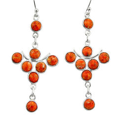 11.04cts red copper turquoise 925 sterling silver dangle earrings jewelry r33577