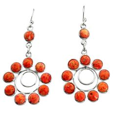 12.71cts red copper turquoise 925 sterling silver dangle earrings jewelry r37491